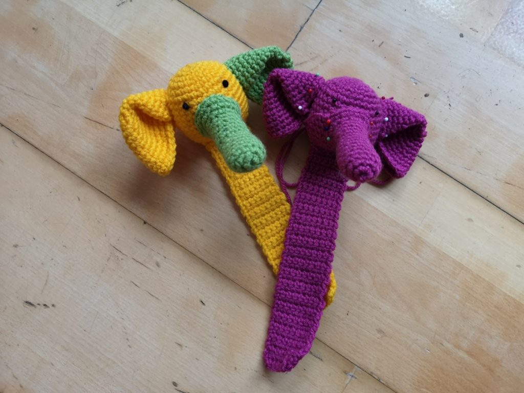 Green-yellow and pink elephant bookmark